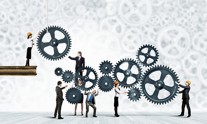 Conceptual image of businessteam working cohesively. Interaction and unity-1